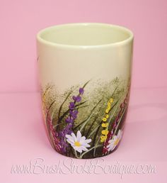 Hand Painted Coffee Mug Wildflowers by BrushStrokeBoutique