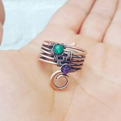 Multistone band ring amethyst, green onyx ring wire wrapped ring, copper wire ring, birthstone ring, gemstone rings copper, friendship rings by FromRONIKwithLove on Etsy https://www.etsy.com/uk/listing/480024679/multistone-band-ring-amethyst-green-onyx