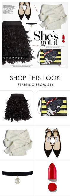 """Black Feather Mini Skirt"" by aidasusisilva ❤ liked on Polyvore featuring Alice + Olivia, Chicwish, Jimmy Choo, Ciel and Rodin"