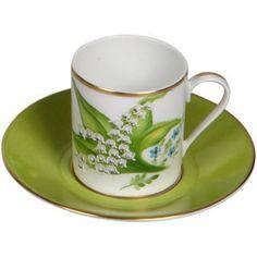 Tasse à expresso 'muguet' en porcelaine de Limoges, peinte à la main.