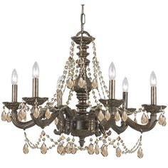 Crystorama Lighting Group Sutton Venetian Bronze Ornate Chandelier Draped With Golden Teak Crystal On SALE