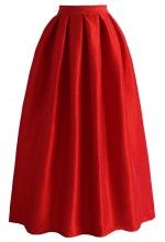 La Diva Pleated Full Skirt in Red