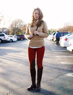 red equestrian pant and tan sweater :)