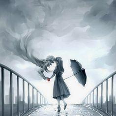 Girl in rain drawing- Digital art- Anime Anime Kunst, Art Anime, Manga Art, Manga Anime, Anime Eyes, Anime Artwork, Art And Illustration, Art Illustrations, Wow Art