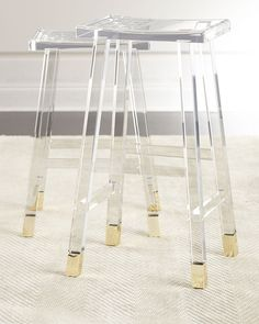 Acrylic and Brass Bar Stools
