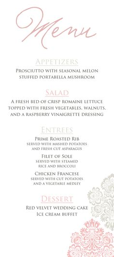 Wedding menu - DIY printable version or full-service printing. Customize colors, fonts, design, etc. From http://replybydesignstudio.etsy.com