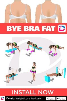 How To Remove Bra Fat - Fitness workouts - Fitness Workouts, At Home Workouts, Butt Workouts, Bora Malhar, Bye Bra, Health And Wellness, Health Fitness, Excercise, Weight Loss