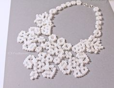 Statement Floral White Wedding Necklace Hama perler Beads by CSFoxBurrow