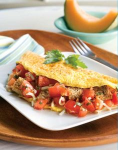 Try our delicious Tomato and Garlic Omelette! It's healthy nutritious and a breakfast all your family will love!