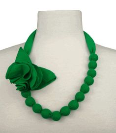 beaded fabric necklace with flower in fabulous green $30