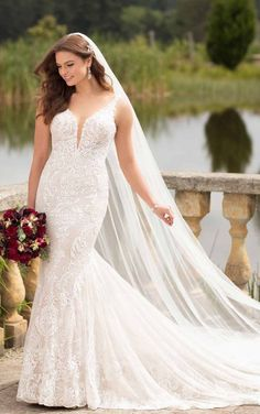*NEW* Lace v-neck fit and flare with plunging neckline and low back available off-the-rack at Silk Bridal Studio. Bridal Lace, Bridal Style, Bridal Gowns, Wedding Gowns, Affordable Wedding Dresses, Designer Wedding Dresses, Essense Of Australia Wedding Dresses, Boho Inspiration, Wedding Inspiration