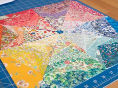 Liberty Rainbow Mini Quilt - paper pieced layout Sewing Designs, Colorful Quilts, Mug Rugs, Mini Quilts, Easy Sewing Projects, Table Toppers, Arabesque, Scissors, Liberty