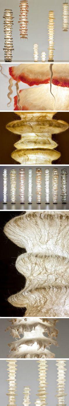 felt art textile sculpture lighting for homes Ayala Serfaty Beautiful lamp