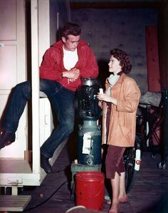 James Dean and Natalie Wood on the set of 'Rebel Without a Cause', 1955.