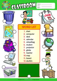 Classroom Number the Pictures ESL Vocabulary Worksheet