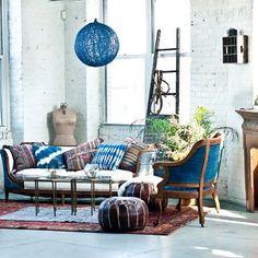 Indigo upholstery in