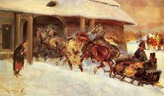 Jerzy Kossak - Napoleon w odwrocie z Rosji wjeżdża saniami do zajazdu.