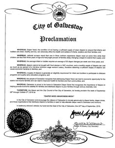 GALVESTON, TX -Mayoral proclamation recognizing Diaper Need Awareness Week (Sep. 26-Oct. 2, 2016) #DiaperNeed Diaperneed.org