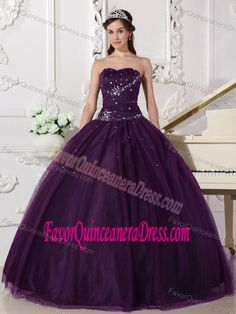 Dramatic Dark Purple Sweetheart Tulle Quinceanera Dress with Beading - $188.68