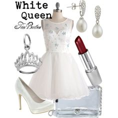 White Queen (Alice in Wonderland) by thejoyofdisney on Polyvore featuring New Look, Forever 21, Wet n Wild, fantasty, disney, princess, white queen, fairytale, alice in wonderland and elegant