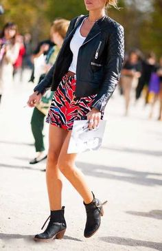 Leather jackets + printed skirts.