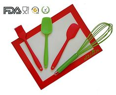 Silicone Baking Utensil Set 5 Pieces Red  Green Cooking Utensils Christmas Gifts for Mom *** Click on the image for additional details.(This is an Amazon affiliate link and I receive a commission for the sales)