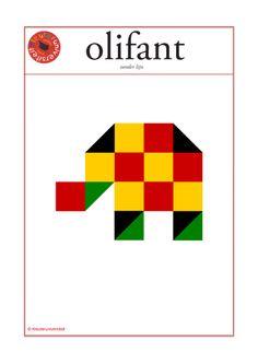 mozaiek-voorbeeldkaart olifant groot formaat Cube Pattern, Pattern Blocks, Kids Education, Past, Cool Pictures, Kindergarten, Projects To Try, Cubs, Teaching