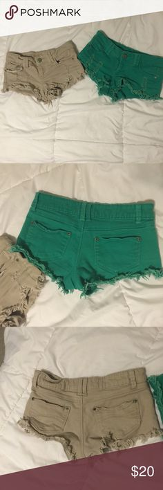 Tan & Green Short Shorts Used shorts. I'm selling them together in a set, or you can leave a comment and let me know which one you want. Seperately I will sell them for $10! I bought these together from Wet Seal. Wet Seal Shorts