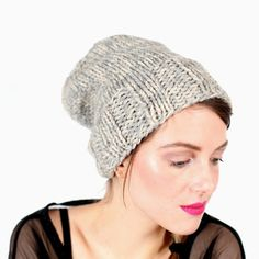 Time to get cozy in a slouchy knit hat.