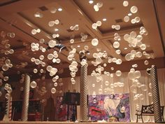 bubbles - tie clear and opaque white balloons onto fishing line and hang from above