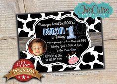 Photo Cow Birthday Invitation for Girl and by TresCutiesDesigns, $15.00