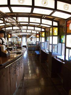 Cafe Interior, Interior Design Living Room, Japanese Design, Ceiling Design, Retro Design, Interior Architecture, Sweet Home, Train, Building