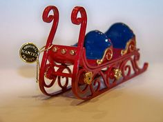 Hantel Original Hand Painted Pewter Santa Sleigh Boxed and in Mint Condition