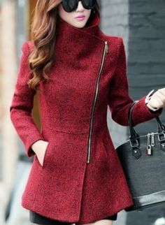 Love this Jacket! Love the Zipper! Love the Color! Red Asymmetrical Zipper Tweed Coat Winter Fashion.