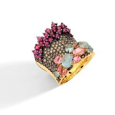 Brumani Baobab brown diamonds, pink tourmaline and aquamarine ring