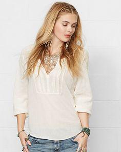 Embroidered Cotton-Blend Top - Shop All Apparel - Ralph Lauren France