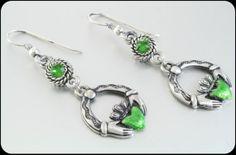Claddagh Earrings Saint Patricks Day Earrings by BlackberryDesigns, $18.00