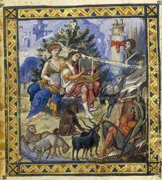 "c.950-970 / The Paris Psalter.David Composing the Psalms, from the Paris Psalter, c. 900 C.E., tempera on vellum,  14-1/8 x 10-1/4"" / 36 x 26 cm (Bibliothèque nationale de France)"