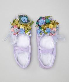 Love love love! Diy inspiration? Easter dress shoes or dance recital, pageant, or flower girl In a wedding!! Tons of similar styles dresses and accessories (this purple shoe comes in Other colors too - pink, etc) Lavender Fairy Slippers by Enchanted Fairyware Couture they are on sale but still a little pricey for me.