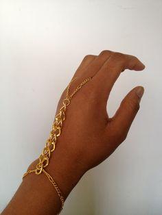 Gold Chain Hand Bracelet Slave Bracelet by WorldofTashii