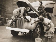 Women Washing an Ambulance,WWII by Robert Hunt