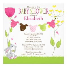 baby shower invitations by zazzle   Cute Clothesline Girl Baby Shower Invitations from Zazzle.com