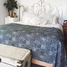 Peacock cane white bed head with bohemian blue throw boho Spell byron bay cushion Pottery barn cushions Domayne gold vase Vintage wicker chest Urban outfitters floor lamp Insta: sian_ _ _ _