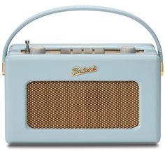 Robert's Radio 1950's Style Duck Egg Blue Leather Finish Retro Radio