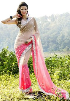 Shaded Dusty Beige and Peach Faux Chiffon Saree with Blouse