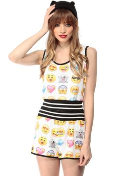 Emoji Print Crop Top @ Cicihot Top Shirt Clothing Online Store: Dress Shirt,Sexy Womens Shirt,T Shirts,Corset Dress,White T Shirt,Girl T Shirt,Short sleeve top