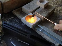 Melting silver before casting - Pod Jewellery, Kyneton, Australia.