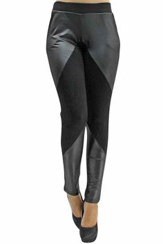 Black Two-Tone Leatherette   Solid Knit Leggings Leggings En Tricot, Les  Leggings Ne 041eb43ca51