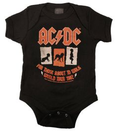 Kiditude AC/DC For Those About to Walk Baby Bodysuit, Black: Baby
