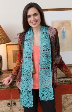 Lacy Granny Scarf Free Crochet Pattern from Red Heart Yarns (UK terms)